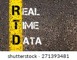 Small photo of Business Acronym RTD as REAL TIME DATA. Yellow paint line on the road against asphalt background. Conceptual image
