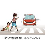 women with child on the... | Shutterstock .eps vector #271406471