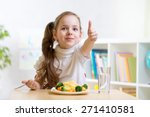child girl eats healthy food... | Shutterstock . vector #271410581