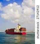 Fully Loaded Cargo Ship Leavin...
