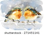 Watercolor Birds On The Branch...