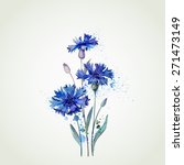 blue cornflowers by watercolor... | Shutterstock .eps vector #271473149