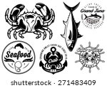 set of templates with crab and... | Shutterstock . vector #271483409