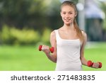 women  exercising  sport. | Shutterstock . vector #271483835