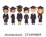 set of diverse college or... | Shutterstock .eps vector #271494809