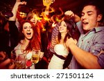 Stock photo people in night club dancing drinking and having fun 271501124