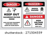 Set Of Danger High Voltage...