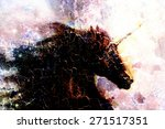horse   black unicorn in space  ... | Shutterstock . vector #271517351