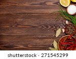 various spices on wooden... | Shutterstock . vector #271545299