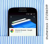 Small photo of Simferopol, Russia - April 18, 2015: Photo of Chrome browser on the Samsung galaxy display. Chrome is a freeware web browser developed by Google