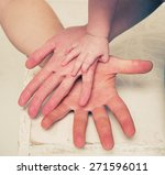 hands family three | Shutterstock . vector #271596011