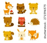 A cartoon vector illustration set of super cute woodland creatures and critters. Included in this set:- deer, raccoon, bear, beaver, owl, porcupine, squirrel, rabbit and fox.