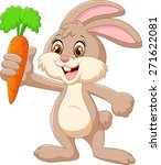 Stock vector cartoon happy rabbit holding carrot 271622081