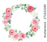 Watercolor Leaf And Roses Roun...