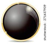 Button. Black Round Glass Icon...