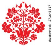 kalocsai red embroidery  ... | Shutterstock .eps vector #271645517
