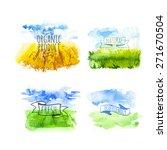 set of simple watercolor... | Shutterstock .eps vector #271670504