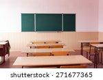 classroom with empty wooden...   Shutterstock . vector #271677365