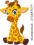 Stock vector cartoon baby giraffe sitting 271697177