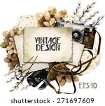 watercolor vintage card with... | Shutterstock .eps vector #271697609