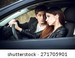 quarrel in the car  the couple... | Shutterstock . vector #271705901