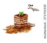 vector watercolor tiramisu cake ...   Shutterstock .eps vector #271741535