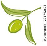 olive branch with olive leaves... | Shutterstock .eps vector #271742675