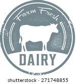 farm fresh dairy stamp | Shutterstock .eps vector #271748855