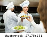 waitress taking dish from chef... | Shutterstock . vector #271756181