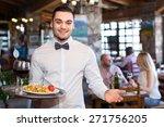 happy smiling handsome waiter... | Shutterstock . vector #271756205
