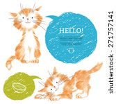 Stock vector pencil sketches of two cute cats isolated on white backdrop illustration with pretty ginger 271757141