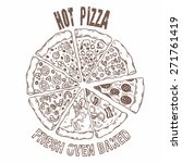 set of different pizza slices.... | Shutterstock .eps vector #271761419