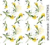 Yellow Iris Flowers With...