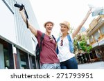 young couple in city posing for ... | Shutterstock . vector #271793951