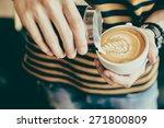 Latte Art Coffee Cup   Vintage...