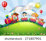Children Riding On A Train In...