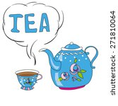 teapot and cup | Shutterstock .eps vector #271810064