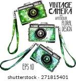 watercolor vintage slr camera... | Shutterstock .eps vector #271815401