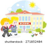 schoolchildren going to school | Shutterstock .eps vector #271852484