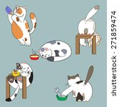 cats and food collection  | Shutterstock .eps vector #271859474