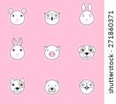 Animal Logos Set. Pink Childre...