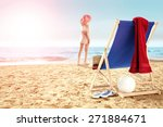 Woman On Sand Chair With Red...