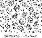 vector sweet cupcakes pattern ...   Shutterstock .eps vector #271926731