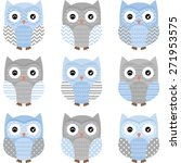 blue and grey cute owl... | Shutterstock .eps vector #271953575