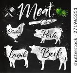 set of meat symbols  beef  pork ... | Shutterstock .eps vector #271965251