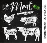set of meat symbols  beef  pork ... | Shutterstock .eps vector #271965251