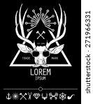 hipster style deer logo and... | Shutterstock .eps vector #271966331