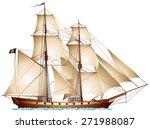 Brigantine Pirate Ship  Sailin...