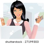 smiling businesswoman with... | Shutterstock .eps vector #27199303
