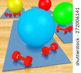 exercise ball  mat and weights... | Shutterstock . vector #272006141